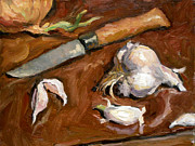 Water Jars Paintings - Knife and Garlic by Thor Wickstrom