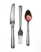 Christina Meeusen Posters - Knife Fork Spoon Poster by Christina Meeusen