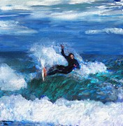 Surfing Digital Art Posters - Knifing Through the Surf Poster by David Lane