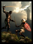 Templar Knight Framed Prints - Knight Fight Framed Print by Daniel Eskridge