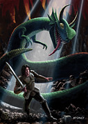 Battling Framed Prints - Knight In Battle With Giant Serpent Framed Print by Martin Davey