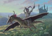 Sword Cartoon Prints - Knight Riding On Flying Dragon Print by Martin Davey