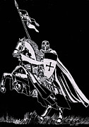 Horse Drawings Glass Art Prints - Knight Templar Print by Jim Ross