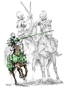 Medieval Drawings Posters - Knight Time - Renaissance Medieval Print color tinted Poster by Kelli Swan