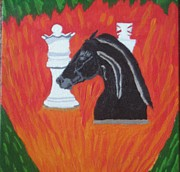 Chess Queen Drawings Framed Prints - Knighted Framed Print by Melissa Nowacki