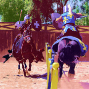 Knights Paintings - Knights Jousting by Clarence Alford
