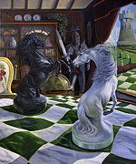 Chess Painting Posters - Knights Magic Poster by Jeanne Newton Schoborg