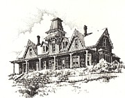 Towns Drawings - Knippenberg Mansion Glendale Ghost Town Montana by Kevin Heaney