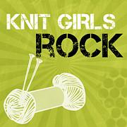 Knit Girls Rock Print by Linda Woods