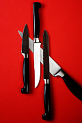 Stainless Steel Prints - Knives On Red Print by HD Connelly