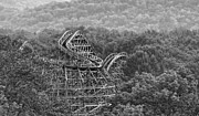 Birds Eye View Photos - Knobels Wooden Roller Coaster Black and White by Paul Ward