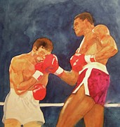 Boxing Gloves Painting Prints - Knockout Punch Print by Nigel Wynter