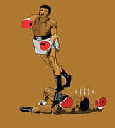 Sports Legends Paintings - Knockout TKO pop art by Paul  Arm