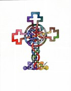 Celtic Cross Drawings - Knot #2 by Dean Ellis