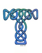 Celtic Cross Drawings - Knot #3 by Dean Ellis
