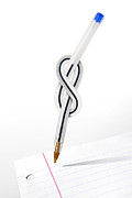 Stationery Framed Prints - Knot Pen Framed Print by Carlos Caetano
