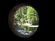 Knothole Prints - Knothole View Wawona Covered Bridge Print by Chris Gudger