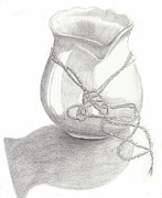 Pencil Drawing Posters - Knots on Vase study Poster by Jose Valeriano