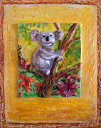 Koala Sculptures - Koala bear sculpture on canvas by Raya Finkelson