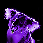 Koala Pop Art Digital Art Metal Prints - Koala Pop Art - Violet Metal Print by James Ahn