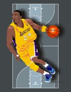 Lakers Digital Art Framed Prints - Kobe Bryant 24 Framed Print by Walter Neal