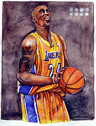 Lakers Drawings - Kobe Bryant by Dave Olsen