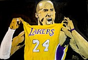 Lakers Painting Prints - Kobe Bryant Print by Estelle BRETON-MAYA