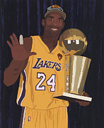 Los Angeles Lakers Metal Prints - Kobe Bryant Five Championships Metal Print by Tomas Raul Calvo Sanchez