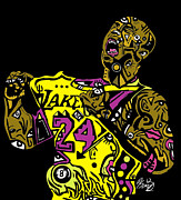 Streetart Prints - Kobe Bryant full color Print by Kamoni Khem