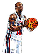 Team Drawings Framed Prints - Kobe Bryant Mens USA Basketball Framed Print by Dave Olsen