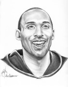 Pencil Portrait Drawings Prints - Kobe Bryant Print by Murphy Elliott