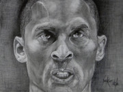 Kobe Drawings Framed Prints - Kobe Bryant Framed Print by Stephen Sookoo