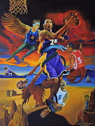Laker Ron Artest Framed Prints - Kobe Defeating The Demons Framed Print by Luis Antonio Vargas
