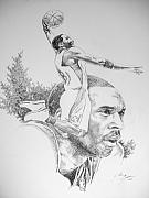 Lakers Drawings - Kobe by Otis  Cobb