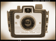 Sepia Digital Art Posters - Kodak Brownie Holiday Flash Poster by Mike McGlothlen