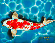 Tropical Art Tapestries - Textiles Prints - Kohaku Koi Print by Daniel Jean-Baptiste