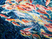 Animals Paintings - Koi 1 by Gill Bustamante 