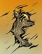 Linoleum Mixed Media Posters - Koi 2 Poster by Jeff DOttavio