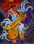 Koi Painting Posters - Koi Adventure Poster by Rebel Lindsey