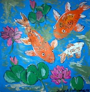 Crystal Mixed Media Prints - Koi Amongst Lotus Print by Julie Butterworth