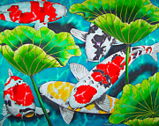 Fish Art Tapestries - Textiles Prints - Koi and Lotus Print by Daniel Jean-Baptiste