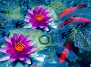 Magenta Mixed Media Posters - Koi and The Water Lilies Poster by Zeana Romanovna