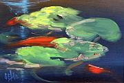 Lilly Pond Paintings - Koi at Play by Sally Seago