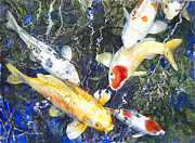 Koi Mixed Media Posters - Koi Deep Blue Poster by Patricia Allingham Carlson
