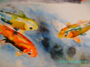 Fish Underwater Paintings - Koi by Dion Halliday