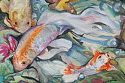 Golden Fish Painting Posters - Koi Fan Tail Fish Poster by Phyllis Barrett