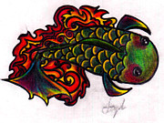 Koi Fish Drawings - Koi Fish 2 by Stephanie Ellison
