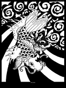 Koi Fish Drawings - Koi Fish 5 by Enrique Simmons