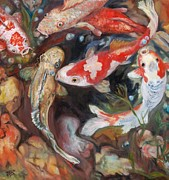 Living Waters Paintings - Koi Fish Circling by  Phyllis Barrett