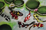 Lotus Pond Paintings - Koi Fish in Lotus Pond by Kim Selig